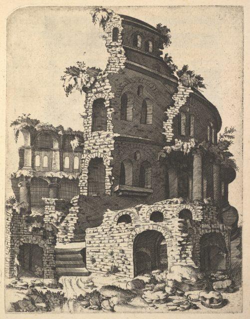 Ruins of a Basilica (?) from the series 'Ruinarum variarum fabricarum delineationes pictoribus caeterisque id genus artificibus multum utiles'