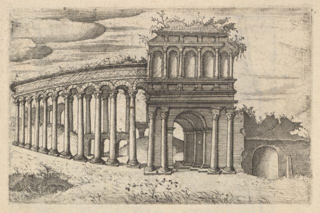 The Amphitheater in Bordeaux [Teatrum Bordeos; Transitorium Caesaris], from the series 'Ruinarum variarum fabricarum delineationes pictoribus caeterisque id genus artificibus multum utiles'