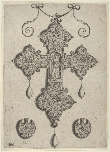 Cross-Shaped Pendant Design with Hope Standing in a Circular Temple