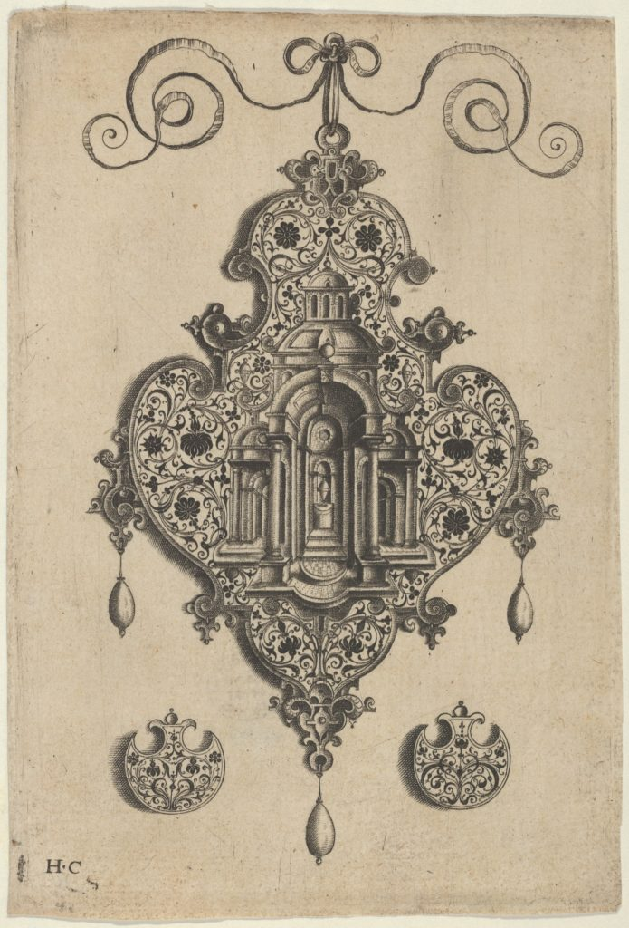 Pendant Design with a Domed Church and Urn Above Axe-Shaped Ornaments