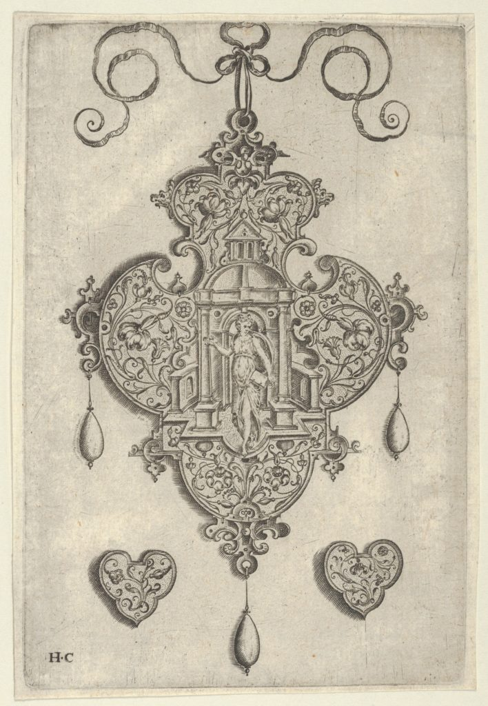 Pendant Design with Faith Standing in a Circular Temple
