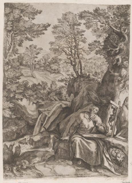 St Jerome Translating the Bible in the Wilderness