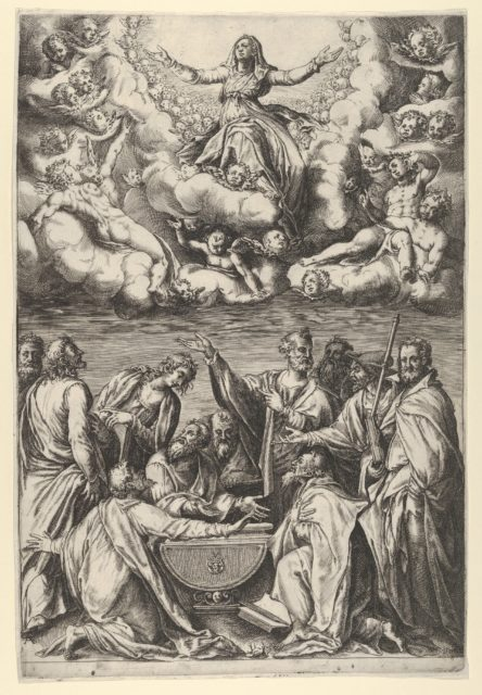 The Assumption of the Virgin with the Virgin surrounded by cherubs and with the Apostles Below