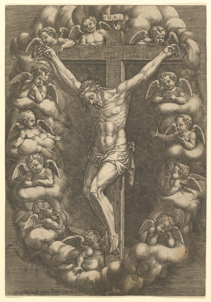 Christ crucified surrounded by mourning angels