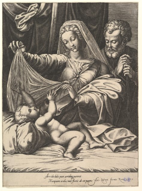 Madonna of Loreto, the Virgin lifts a veil above the Child, who lies on a bed and pillow, Joseph stands behind with both hands on his staff