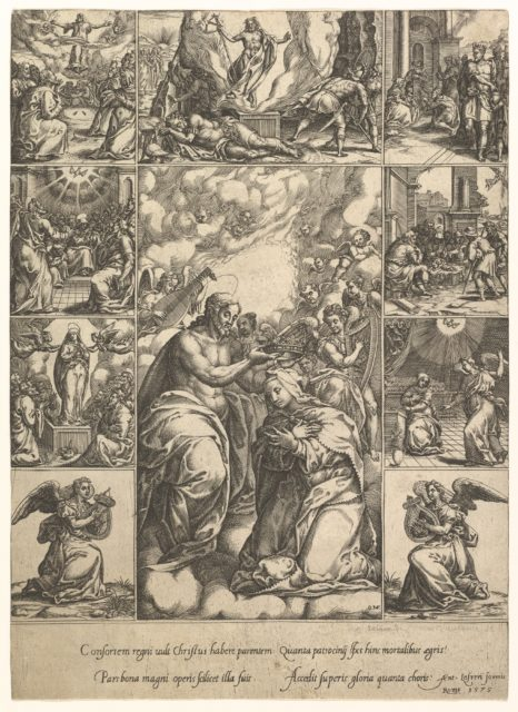 The Coronation of the Virgin; surrounded by nine vignettes with scenes from the life of Christ and the Virgin