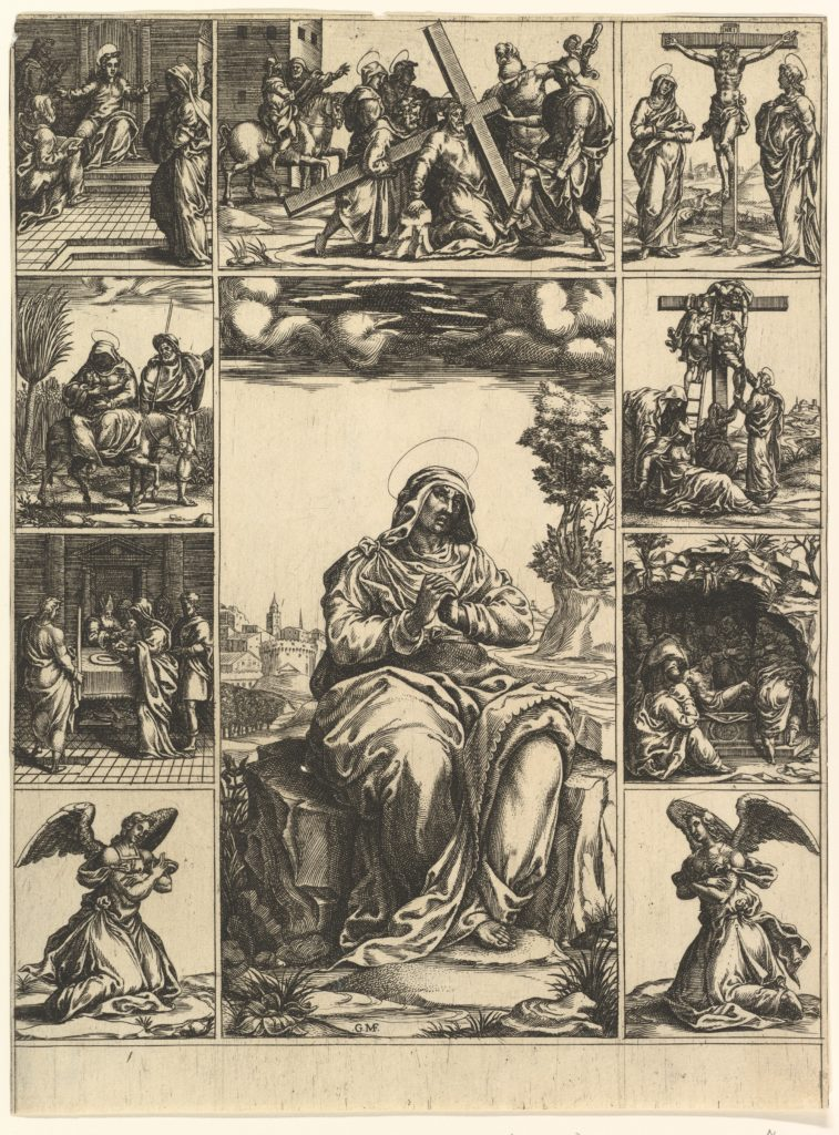 The Virgin of Sorrows; an image of the Virgin Mary surrounded by nine vignettes depicting scenes of her life