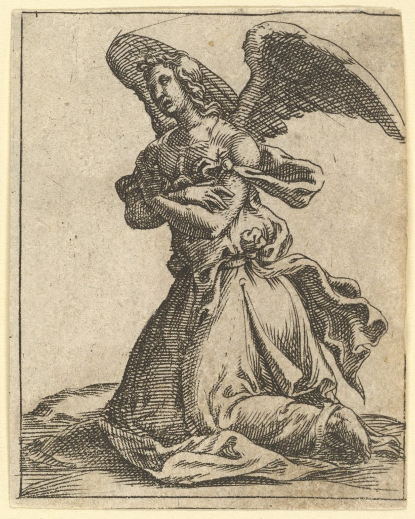 The Virgin of Sorrows: Angel; one of nine surrounding compartments from the Virgin of Sorrows, now separated