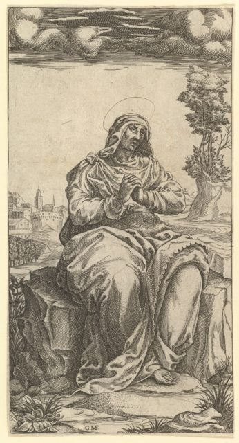 The Virgin of Sorrows; central part of a print with nine surounding compartments, now separated