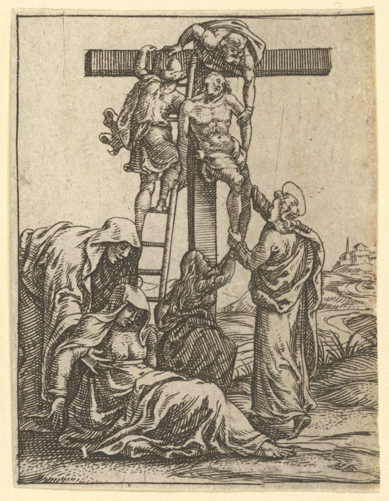 The Virgin of Sorrows: The Descent from the Cross; one of nine surrounding compartments from the Virgin of Sorrows, now separated