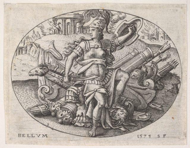 War: Bellona sits on a trophy of arms (La Guerre: Bellone assise sur un trophée d'armes)