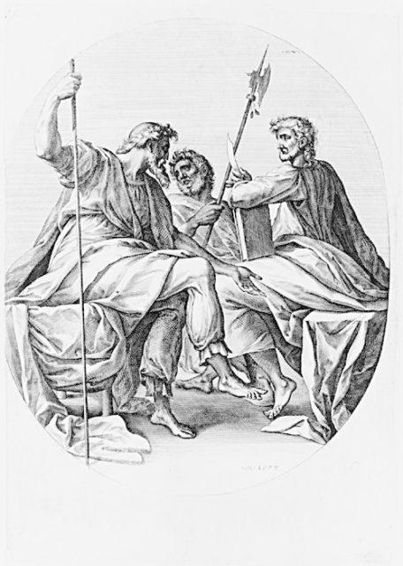 Saints James Major, Bartholomew(?) and Thomas, from the series The Apostles