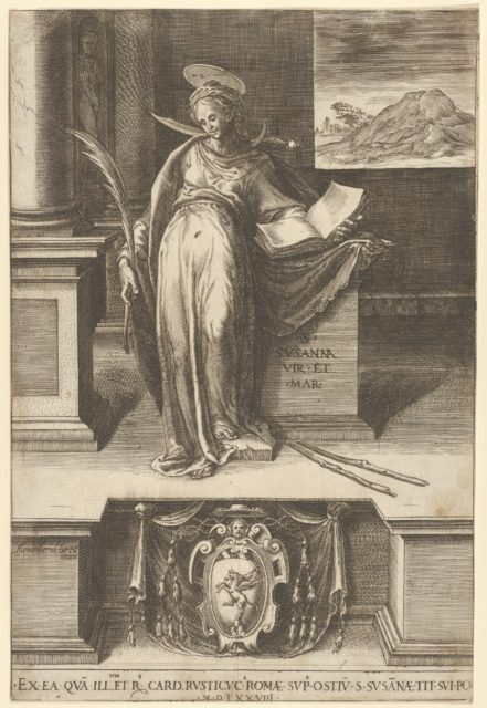 Saint Susanna in an interior holding an open book in her left hand, a palm in her right, a landscape visible through a window at right and at bottom center a coat of arms