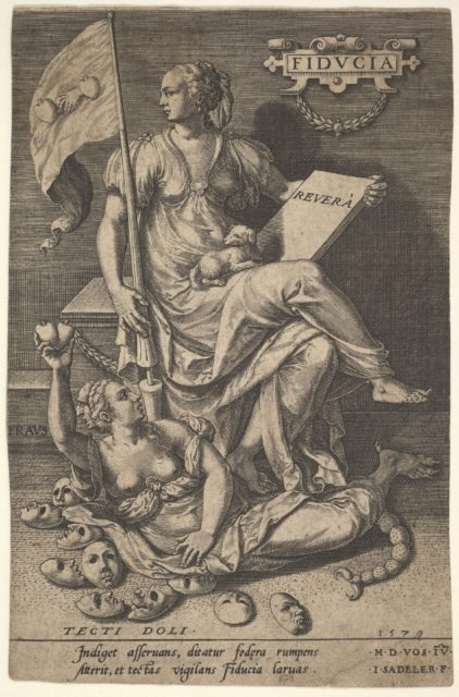 Fiducia, a seated woman holds a book and banner while turning her head away from a bare-breasted woman, who lies at her feet before an assemblage of masks on the ground, from the series 'Virtues conquering vices' after Maerten de Vos