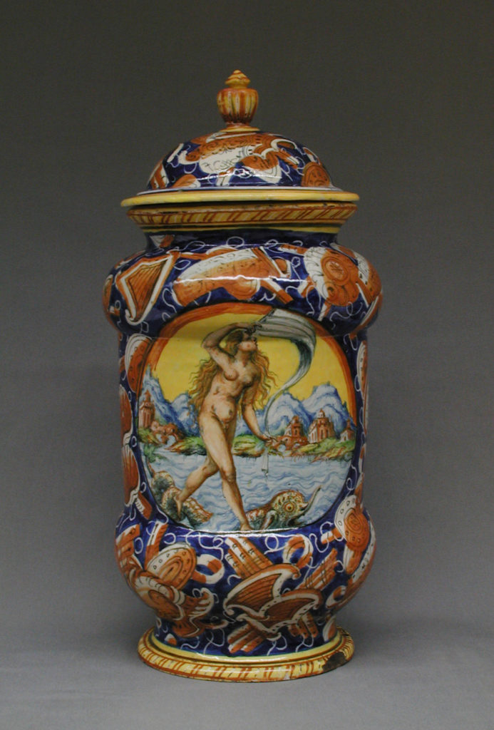 Lidded pharmacy jar with the personification of Fortuna