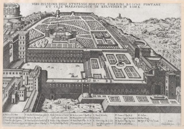 Speculum Romanae Magnificentiae: Aerial View of the Belvedere and its Gardens