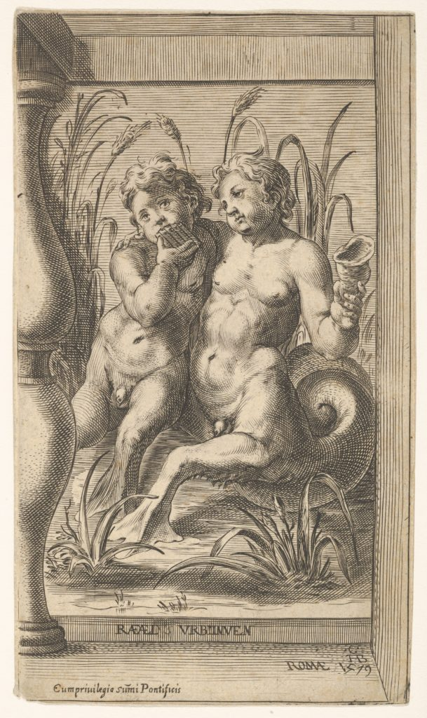 Two tritons embracing, one playing a panpipe, the second holding a conch shell set within a recessed space