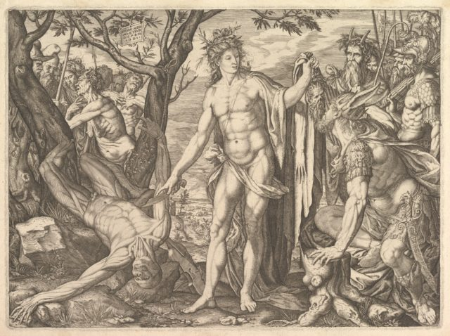 Apollo and Marsyas and the Judgment of Midas: at right Midas with the ears of an ass resting his hand against a tree stump, at center Apollo holds a flaying knife, at left the flayed corpse of Marsyas roped to a tree, soldiers and satyrs beyond
