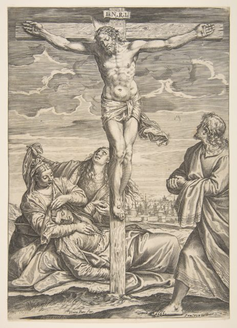 Christ on the cross, Saint John to the right looking toward him, to the left is the fainting Virgin Mary supported by two women