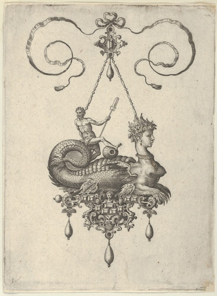 Pendant Design with a Sphinx with the Body of a Fish Carrying a Man with an Oar
