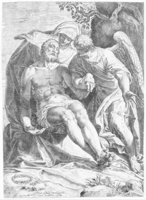 Pieta; Christ supported by the Virgin and an angel at the right