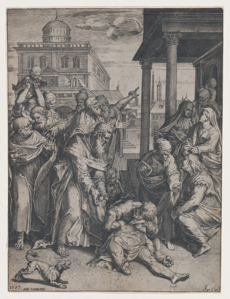 Saint Paul raising Patroclus who is on the ground, surrounded by a group of onlookers, a dog in the foreground at left