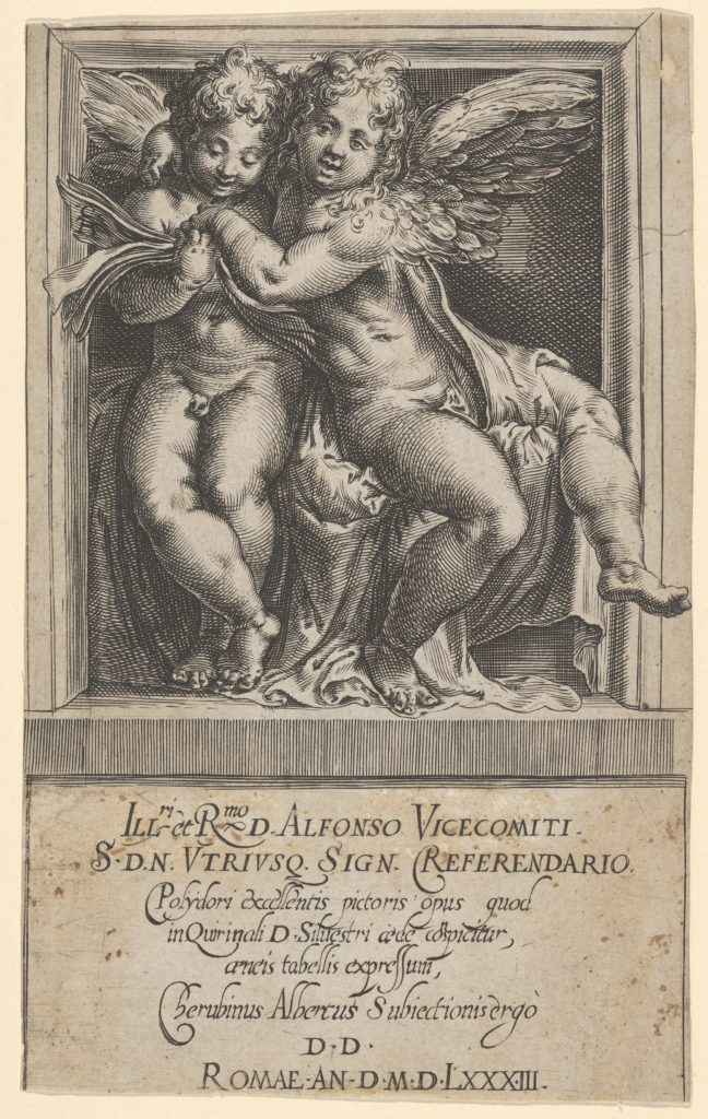 Two seated angels, arms around one another, the one on the left looking down at a song book, from The Angels' Concert