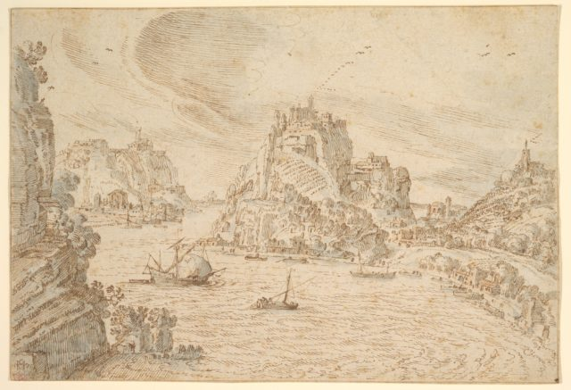 A Rocky Estuary with Ships and Hill Towns
