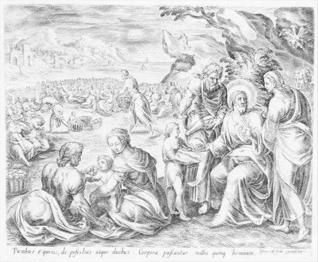 Joseph Standing Before Pharaoh, from The Story of Joseph, bound in Thesaurus Sacrarum historiarum Veteris et Novi Testamenti