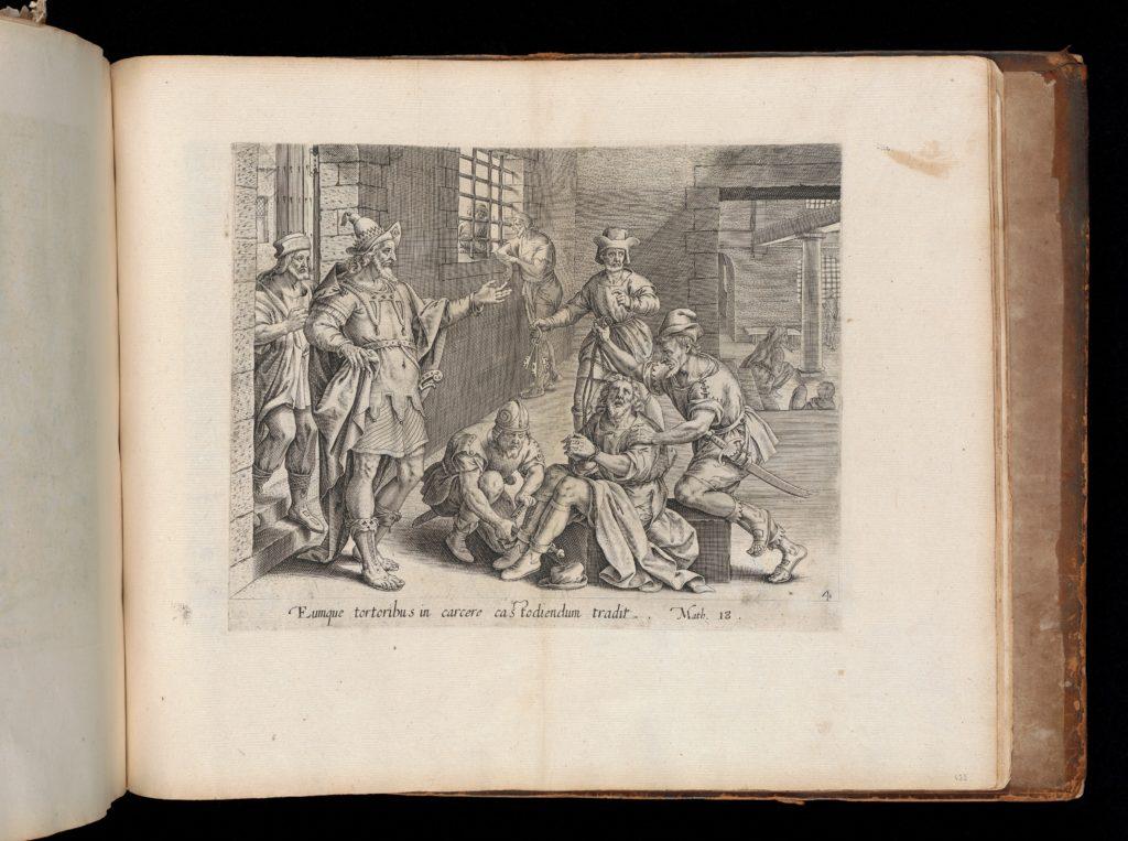 The Imprisoned Servant, from The Parable of the Unmerciful Servant, bound in Thesaurus Sacrarum historiarum Veteris et Novi Testamenti