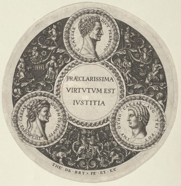 Design for a Dish with Portraits of the Roman Emperors Caesar, Claudius, and Otho