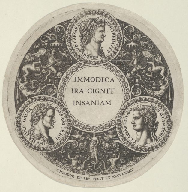 Design for a Dish with Portraits of the Roman Emperors Nero, Galba, and Caligula