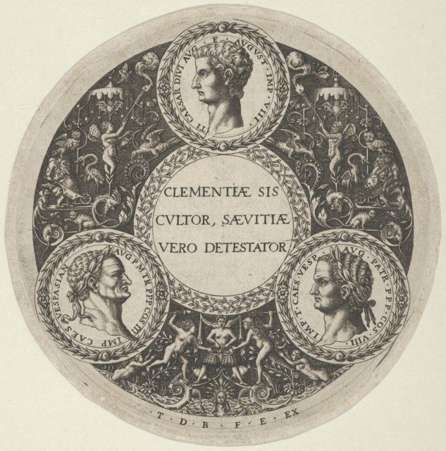Design for a Dish with Portraits of the Roman Emperors Tiberius, Vespasian, and Titus