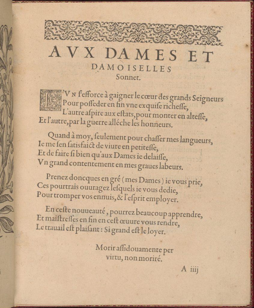 Les Singuliers et Nouveaux Portraicts... page 3 (recto)