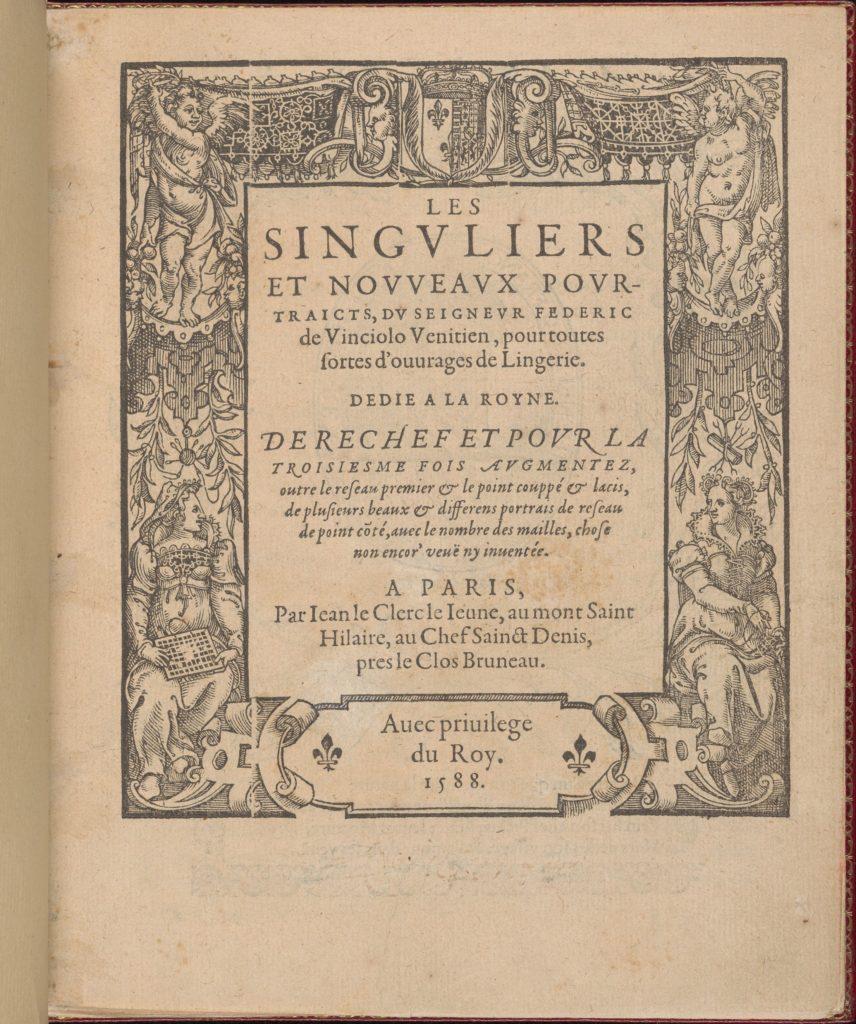 Les Singuliers et Nouveaux Portraicts... Part I title page (recto)