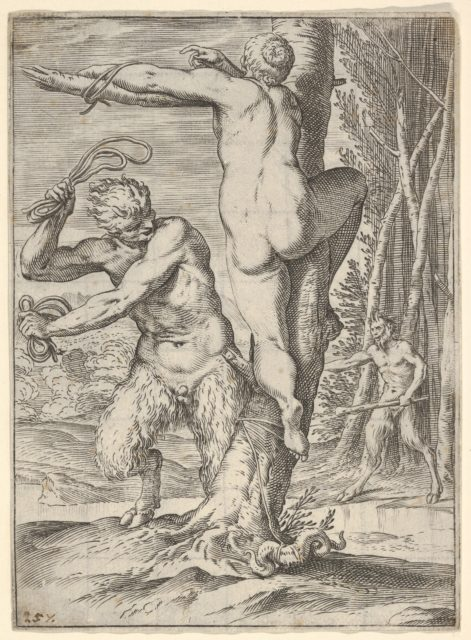 Satyr whipping a nymph, who is shown from behind and bound to a tree, a second satyr bearing a club stands in the middle ground