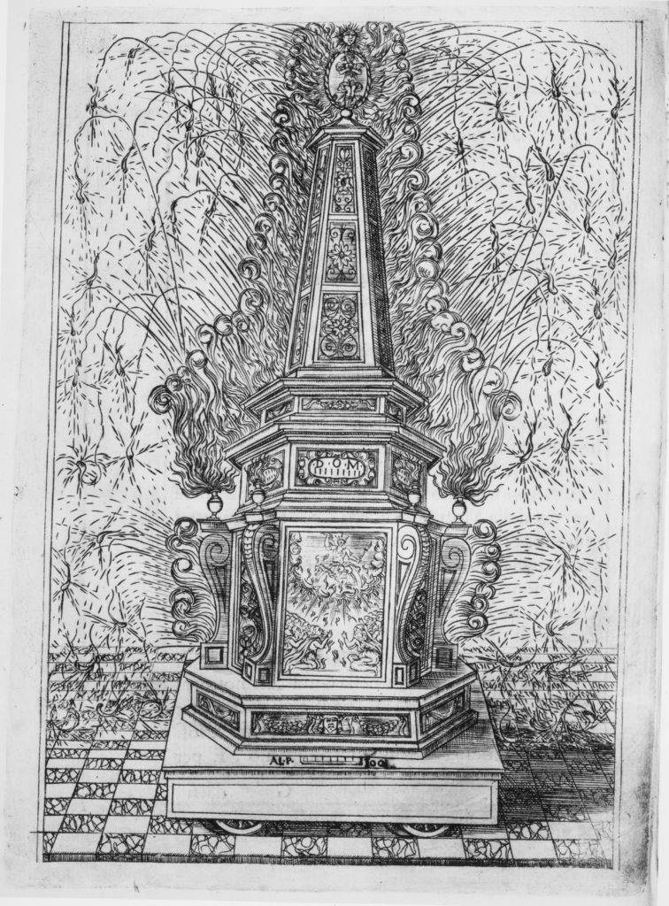 Festival for Saint Placidus, Messina, August 2, 1589: Fireworks Obelisk