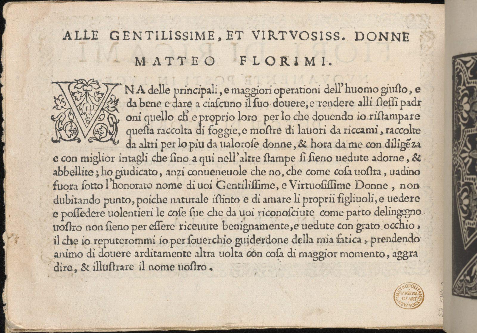 Fiori di Ricami Nuovamente Posti in Luce, title page (verso)