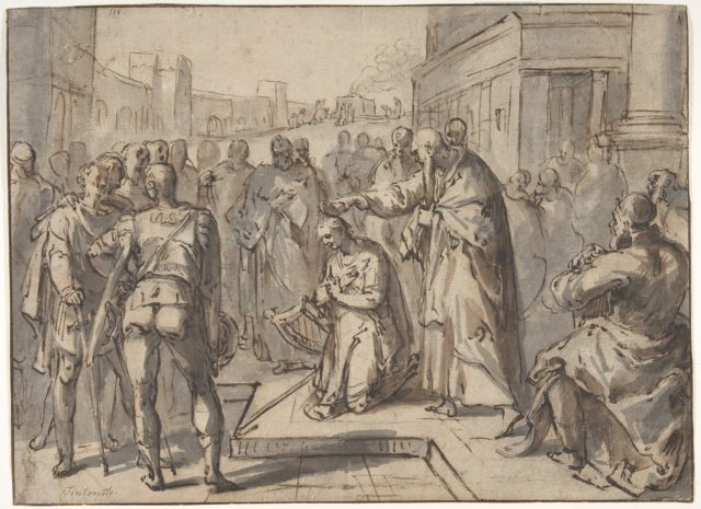 Samuel Annointing David; verso: sketch of two figures