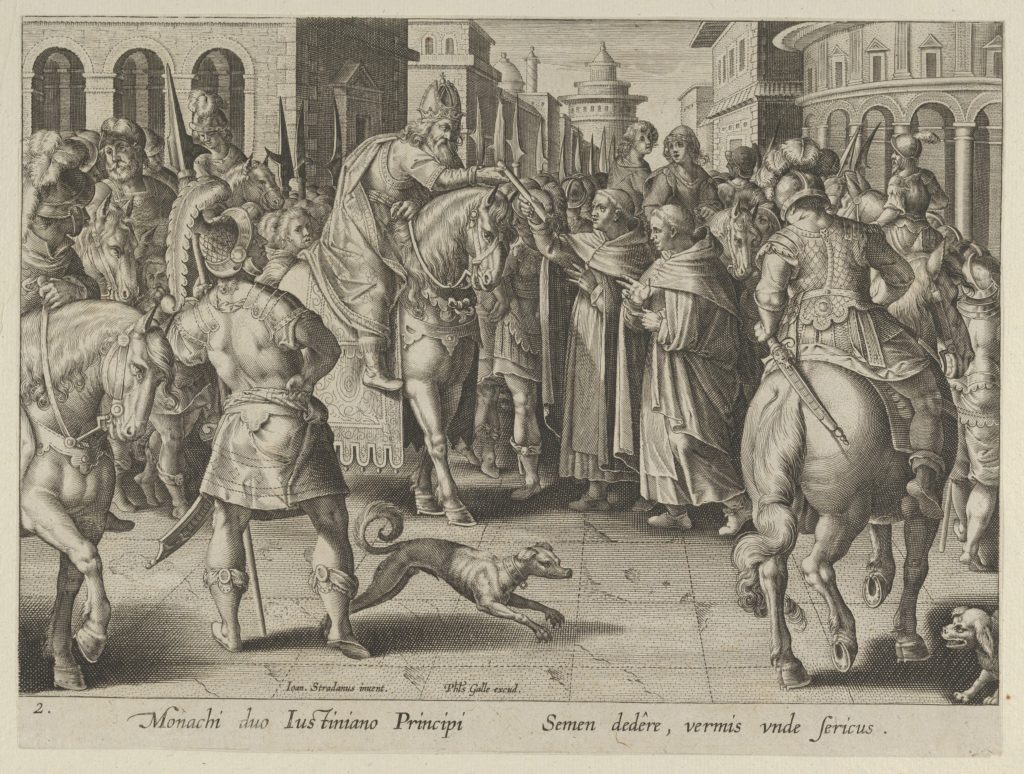 """Emperor Justinian Receiving the First Imported Silkworm Eggs from Nestorian Monks, Plate 2 from """"The Introduction of the Silkworm"""" [Vermis Sericus]"""