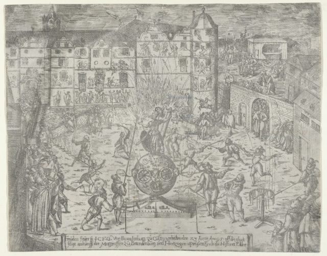 Fireworks on June 23, 1595, for the entry to Küstrin of the Margrave of Brandenburg and Duchess of Prussia