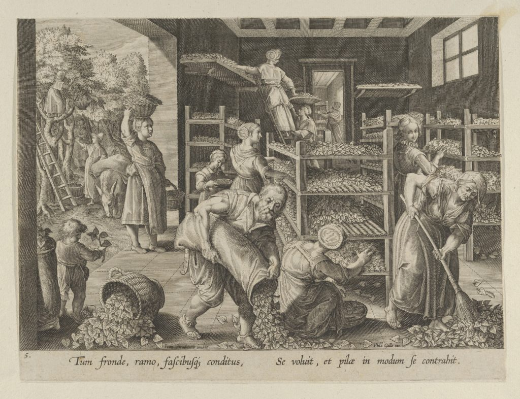 """The Gathering of Mulberry Leaves and the Feeding of the Silkworms, Plate 5 from """"The Introduction of the Silkworm"""" [Vermis Sericus]"""