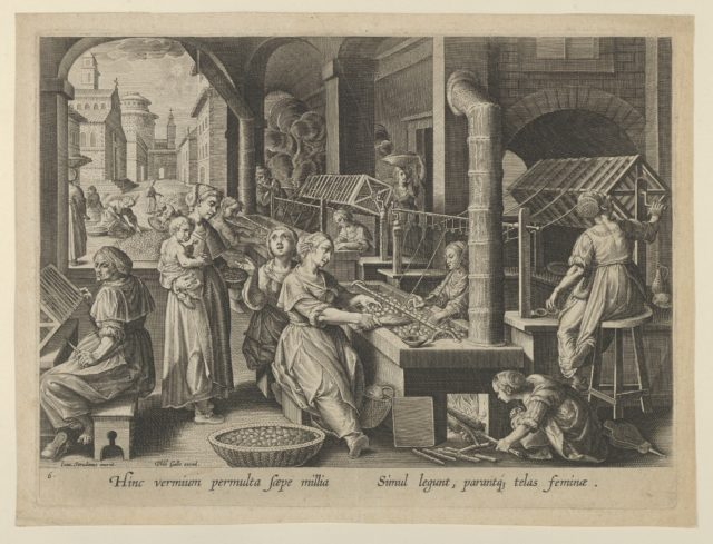 """The Reeling of Silk, Plate 6 from """"The Introduction of the Silkworm"""" [Vermis Sericus]"""
