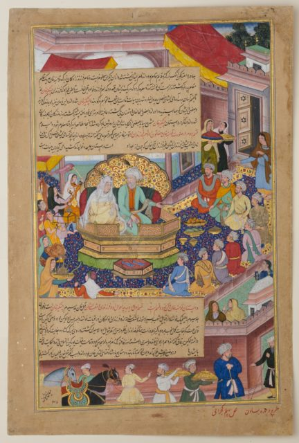 """Tumanba Khan, His Wife, and His Nine Sons"", Folio from a Chingiznama (Book of Genghis Khan)"