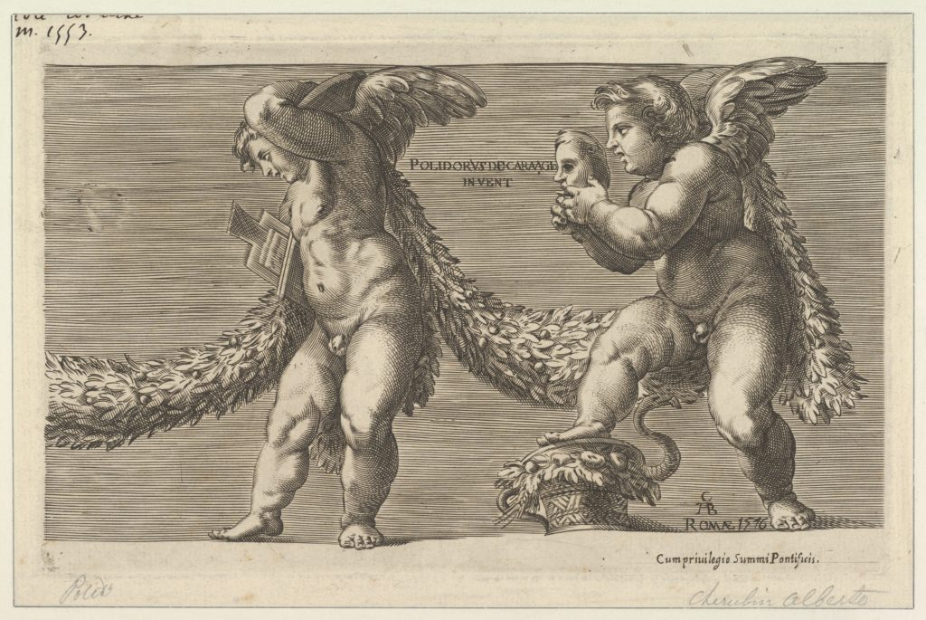 Two putti draped with a garland the one at right holding a mask