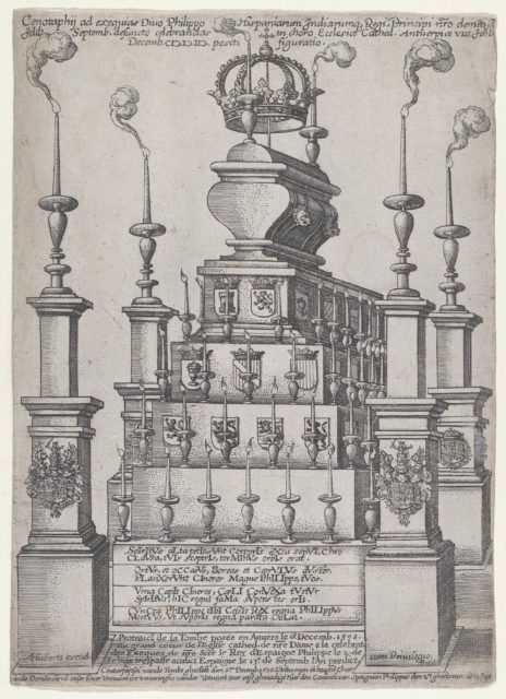 Catafalque of Philip II, King of Spain, in Antwerp Cathedral, December 8, 1598