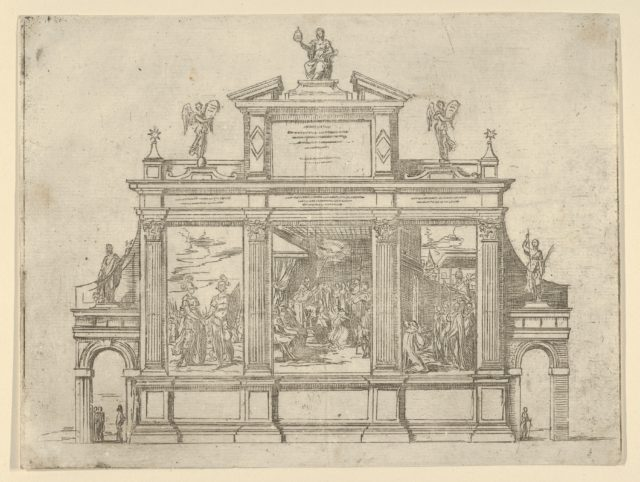 Facade of a triumphal monument with three scenes depicting deeds of Pope Clement VIII, a temporary decoration for the entry of Pope Clement VIII in Bologna in 1598