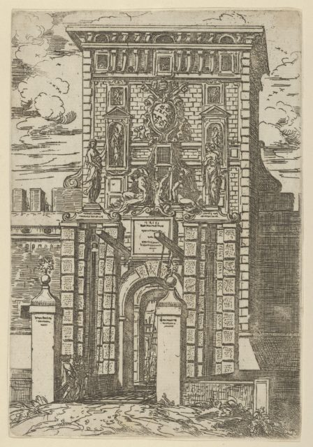 The Porta Galliera, the entrance gate to Bologna and drawbridge with temporary decorations for the entry of Pope Clement VIII in Bologna in 1598