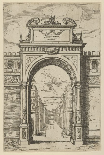 Triumphal arch surmounted by a statue of Moses, buildings seen through the arch below, a temporary decoration for the entry of Pope Clement VIII in Bologna in 1598