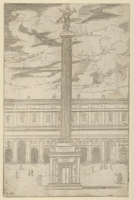 Triumphal column with female figure of Fame holding a trumpet at the top, a temporary decoration for the entry of Pope Clement VIII in Bologna in 1598